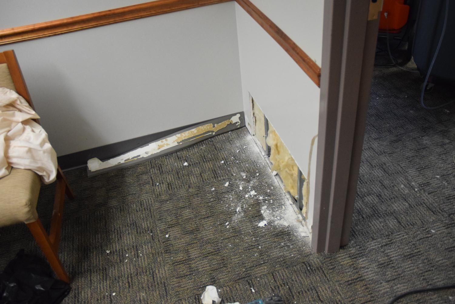 Workers have begun replacing the drywall in B125 which was damaged when the pipes in Mr. Facchin's room burst and leaked water into the classes and offices below.