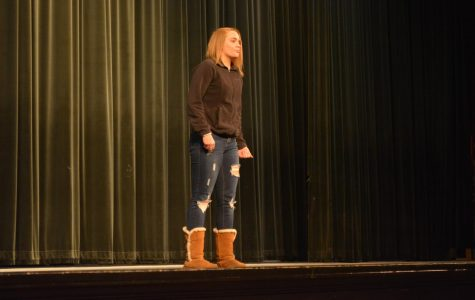 Sophomore Samantha Beeman recites a poem,